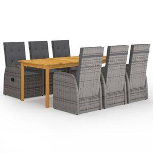 Gartenmöbel Essgruppe 6 Personen ,7-TLG. Terrassenmöbel Balkonset Sitzgruppe: Tisch mit 6 Stühle, Grau❀3964