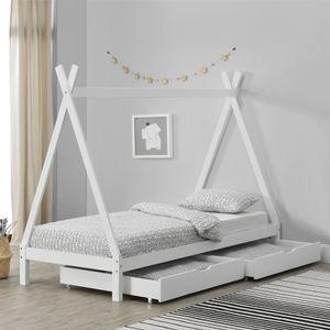 Kinderbett mit 2 Schubladen 90x200cm Weiß Tipi Indianer Bett Hausbett Kinder Haus [en.casa]
