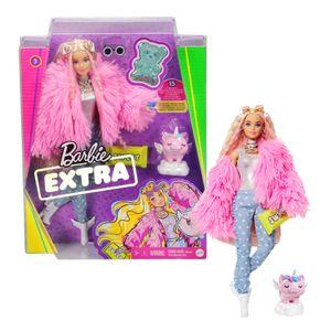Barbie Extra Puppe (blond) mit flauschiger rosa Jacke, inkl. Haustier