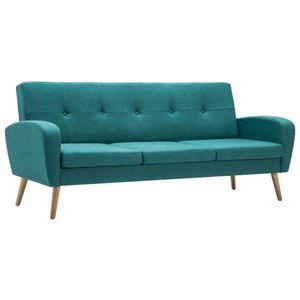 vidaXL 3-Sitzer-Sofa Stoff Grün