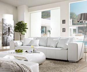 Couch Marbeya Weiss 290x110 cm mit Schlaffunktion Big-Sofa