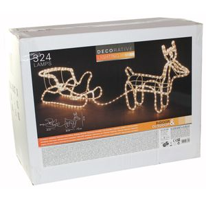 Rentier Schlitten Beleuchtung Weihnachten XMAS Winter Lichtschlauch 324 Lampen