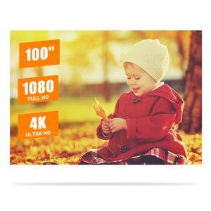 Tragbarer 100-Zoll-Metallprojektorbildschirm Anti-Licht-Filmbildschirm 16: 9 3D 4K 1080P HD Faltbarer Projektionsbildschirm Einfach zu reinigen mit Befestigungsbaendern fuer Heimkino-Unterhaltung im Innen- und Aussenbereich