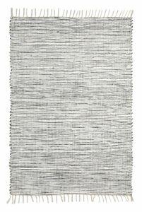 Wollteppich Läufer 60 x 120 cm Schwarz Weiß Webteppich Streifen und Fransen Teppichläufer