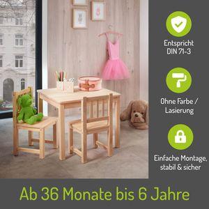 BOMI® Baby Möbel Set 2 Stühle und Tisch Amy aus Kiefer Massiv Holz für Kleinkinder ab 24 Monate bis 10 Jahre Naturbelassen