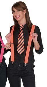 Karneval Zubehör Krawatte gestreift orange-schwarz zum Kostüm