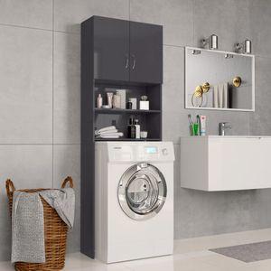 64×25,5×190 cm Spanplatte Waschmaschinenschrank, Hochglanz-Grau