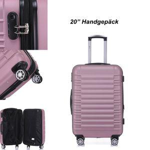 Reise Koffer Hartschalenkoffer Trolley Reisekoffer M Pink 4 Rollen Roll-Koffer Handgepäck