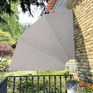 Faltbarer Balkonfächer Seitenmarkise Sichtschutz Sonnenschutz   Balkonmarkise Seitenrollo Markise Creme 210×210 cm   4893