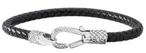 Police Armband Herrenarmband Lederband schwarz silber PJ26491BLB.01