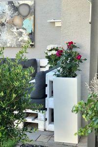 """Pflanzkübel Blumenkübel Zink """"Block"""", Weiß - 29x29x80 cm (mit Bewässerungsset)"""