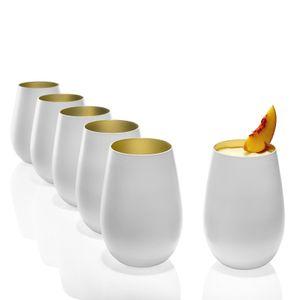 Stölzle Lausitz Becher Olympic 465 ml, 6er Set, Wassergläser in weiß (matt) und gold, spülmaschinenfest, bleifreies Kristallglas, hochwertige Qualität