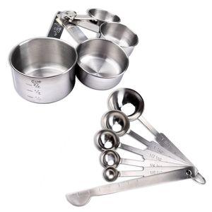 Schramm® 10-teilges Set Messlöffel und Messbecher aus rostfreiem Edelstahl mit Messlineal eingravierte Messwerte stapelbar