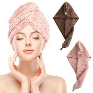 2 Pcs Mikrofaser Turban Handtuch Saugfähig Schnelltrocknend Kopfhandtuch mit Knopf Haarhandtuch Braun Rosa
