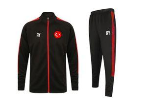 Trainingsanzug TÜRKEI Schwarz/Rot Gr. M Sportanzug Jogginganzug mit Druck (Name, Nummer oder Initialen)
