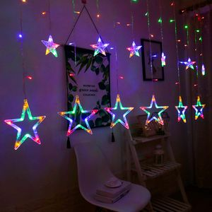 led Lichterkette 12 Sternenvorhang led Lichtervorhang Weihnachten mehrfarbig 8 Modi dimmbar