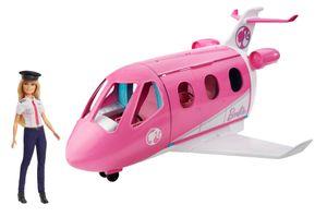 Barbie Reise Traumflugzeug verwandelbares Spielset mit Puppe und mehr als 15 reisebezogenen Zubehörteilen
