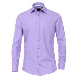 Größe 40 Venti Hemd Lila mit Besatz Langarm Slim Fit Tailliert Geschnitten Kentkragen 100 % Baumwolle