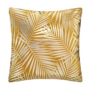 Tropisches Samtkissen - 40 x 40 cm - Gold und Ocker