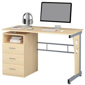 SixBros. Computerschreibtisch mit viel Stauraum, 3 Schubladen, Schreibtisch in Ahorn hell Holzoptik, 120 x 58 cm S-352/112