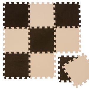 Puzzlematte Spielmatte Braun-Beige 10-tlg. Spielteppich Schaumstoff Puzzle Kinderteppich