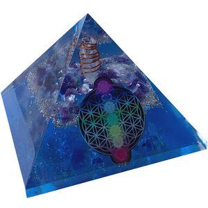CHONIT Orgonit Pyramide, Chakra-Mix oezan blau mit Symbol Blume des Lebens, EMF-Schutz gegen Strahlung, groß mit Bergkristall als Deko für zu Hause