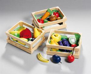 Holzkorb mit Holzobst/Holzgemüse sortiert, 1 Set