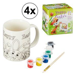 4x 8-teiliges Malset Ostertasse mit Farben und Pinsel, Hase, Tasse, malen, Kinder