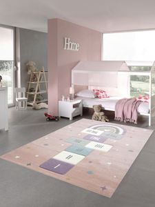 Kinderzimmer Teppich Spielteppich mit Sternen Hüpfspiel Himmel & Hölle Herz Regenbogen rosa grün creme Größe - 160x230 cm