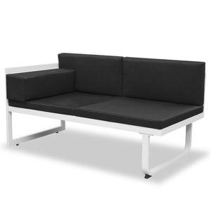 yocmall 5-tlg. Garten-Lounge-Set Textilene Aluminium Schwarz
