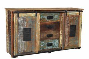 SIT Möbel Sideboard | 2 Schiebetüren, 4 Schubladen | Altholz mit Metall | natur – bunt | B 150 x T 38 x H 81 cm | 11303-98 | Serie JUPITER