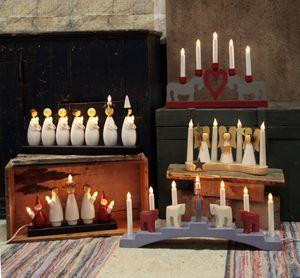 """Best Season Fensterleuchter """"Luciatag"""" 7flammig Material: Holz, ca. 22 cm x 48 cm, 652-80"""