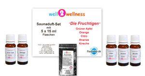 Saunaaufguss Set 5 x 15 ml Fruchtig plus 10g Mentholkristalle