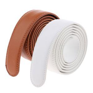 2 Stück Herren Wechselgürtel Ersatz Gürtel Weich Leder Automatik Gürtel Gürtelriemen Belts ohne Schnalle, 126x3,5cm