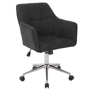 SVITA JAKE Schreibtischstuhl mit Armlehnen Höhenverstellbar Drehstuhl mit Rollen Stoff-Bezug Dunkelgrau