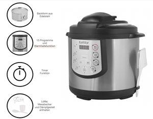 KeMar Kitchenware KPC-150 Schnellkocher   Multikocher   Pressure Cooker   Schnellkochtopf   Warmhaltefunktion   Timer   15 Programme    Innentopf aus Edelstahl