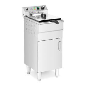 Royal Catering Elektro-Fritteuse - 13 L - 5.000 W - Ablasshahn - Kaltzone - mit Unterschrank