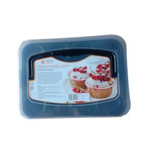 12er Muffinform Backform mit Deckel Muffinförmchen Backblech Antihaftbeschichtet