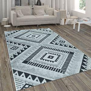In- & Outdoor-Teppich, Mit Hochflor-Absetzung Und Ethno-Look, In Weiß-Schwarz, Grösse:80x150 cm