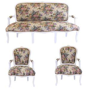 Casa Padrino Barock Sitzbank Set Blumen Muster / Antik Stil Weiß - 1 Sofa + 2 Sessel