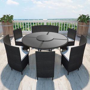 Gartenmöbel Essgruppe 6 Personen ,7-TLG. Terrassenmöbel Balkonset Sitzgruppe: Tisch mit 6 Stühle, mit Auflagen Poly Rattan Schwarz❀4487