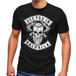 Herren T-Shirt See You in Valhalla Wikinger Totenkopf Skull Fashion Streetstyle Neverless® schwarz XL