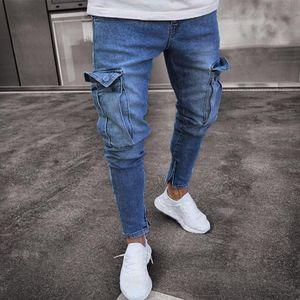 Herren Stretch Jeanshose Distressed Ripped Freyed Slim Fit Pocket Jeans Hose Größe:M,Farbe:Blau