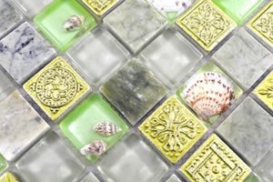 Handmuster Mosaikfliese Transluzent grün Glasmosaik Crystal Stein Muschel grün MOS82C-0502_m