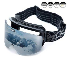 Skibrille mit Double Zylindrische Linse OTG Anti-Kratzer und Anti-Nebel UV400 Schutz Ski Goggles Snowboardbrille Schneebrille Sportbrille für Herren Damen Silber