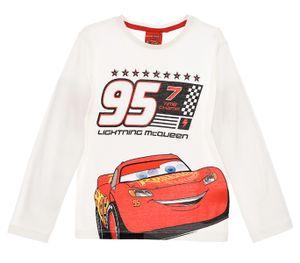 Disney Cars Kinder Langarmshirt mit Lightning McQueen Motiv, weiß, Größe:116