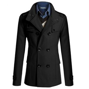Lässige Trenchcoat-Mode für Herren Langer, schmaler Mantel Jacke Outwear Größe:XL,Farbe:Schwarz