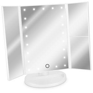 Navaris LED Kosmetikspiegel faltbarer Standspiegel - beleuchteter Schminkspiegel Make Up Spiegel 2-fach 3-fach Vergrößerungsspiegel - Matt Weiß