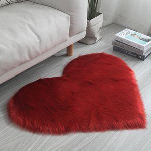 Liebestyp Flauschigen Teppich, Plüsch Flauschigen Bett Teppich Für Schlafzimmer Nach Hause-Rot 30x40CM