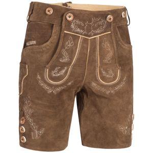 PAULGOS Herren Trachten Lederhose kurz - HK1 - Echtes Leder - in 2 Farben erhältlich - Größe 44 - 60 , Farbe:Hellbraun, Größe:50